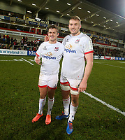 Saturday 7th December 2019 | Ulster Rugby vs Harlequins<br /> <br /> Billy Burns and Kieran Treadwell after the Heineken Champions Cup Round 3 clash in Pool 3, between Ulster Rugby and Harlequins at Kingspan Stadium, Ravenhill Park, Belfast, Northern Ireland. Photo by John Dickson / DICKSONDIGITAL