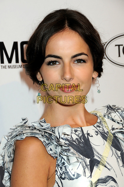 CAMILLA BELLE .TOD's Beverly Hills Boutique Launch Celebration held at TOD's Boutique, Beverly Hills, California, USA, .15th April 2010..portrait headshot hair up make-up earrings  sleeveless black and white print grey gray ruffle sleeve silver green stone dangly  .CAP/ADM/BP.©Byron Purvis/AdMedia/Capital Pictures.