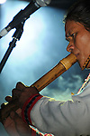 Puli, Taiwan -- Special guest Pitero Wukah plays the Pgaku flute, an aboriginal instrument from the Taroko area in Taiwan, at ChthoniC's 'Final Battle at Sing Ling Temple' concert in Puli, Nantou county.