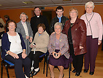 Kitty Brady, Kathleen Vaughey, Dympnah Coyle, Marion Cluskey, Monsignor Jim Carroll, Sr Robinsn, Gerard Cluskey and Mary Coogan at the function in the Barbican Centre to mark Helen Lennon's 25 years in the Pioneers. Photo:Colin Bell/pressphotos.ie