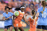 Houston, TX - Friday April 29, 2016: Taylor Lytle (6) of Sky Blue FC and Chioma Ubogagu (9) of the Houston Dash battle for control of the ball at BBVA Compass Stadium. The Houston Dash tied Sky Blue FC 0-0.