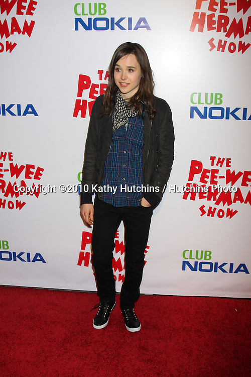 "Ellen Page.arriving at the ""The Pee Wee Herman Show"" Opening Night..Club Nokia.Los Angeles, CA.January 20, 2010.©2010 Kathy Hutchins / Hutchins Photo...."