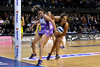 Pulse&rsquo; Aliyah Dunn and Stars&rsquo; Storm Purvis in action during the ANZ Premiership - Pulse v Stars at TSB Arena, Wellington, New Zealand on Monday 13 May 2019. <br /> Photo by Masanori Udagawa. <br /> www.photowellington.photoshelter.com