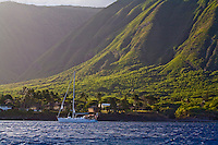 Kahea at anchor off Kalaupapa, on the north coast of Molokai