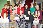 Mary O'Connor Kilcummin who recently retired from Dawn Dairies and instead of having a retirement party she presented money to the Aghadoe Ward in Kerry General Hospital and SK Parkinson society in the Dromhall Hotel Killarney on Tuesday front row l-r: Ellie Finnegan, Pat Healy SK Parkinson, Mary O'Connor, Catherine O'Connell KGH, Conor Finnegan. Back row: Rosemarie Nolan, Noreen Pigott, Jane Gleeson, Margaret Nugent, Louise Finnegan, Catriona McGuire and Laura McGuire