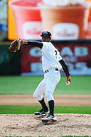 Trenton Thunder pitcher Kelvin Perez (3) during game against the Akron Aeros at ARM & HAMMER Park on April 17, 2013 in Trenton, New Jersey.  Akron defeated Trenton 10-6.  Tomasso DeRosa/Four Seam Images