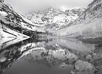 Early Winter setting at Maroon Lake with the reflecting Maroon Bells.