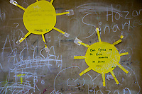 Serbia. Leskovac is a city and the administrative center of the Jablanica District in southern Serbia. « Petar Tasir » Elementary School. The school's students are all from Romani ethnicity. 1st Grade classroom. Two yellow suns are taped on the wall. Handwritten words in Cyrillic language. (Sun Left) The sunlight is needed for people, plants and animals. (Sun Right) Without sun, life would not be possible. The Romani (also spelled Romany) or Roma, Roms or Gypsies, are a traditionally itinerant ethnic group. The flag of Serbia is a tricolor consisting of three equal horizontal bands, red on the top, blue in the middle and white on the bottom. The Pestalozzi Children's Foundation (Stiftung Kinderdorf Pestalozzi) is advocating access to high quality education for underprivileged children. It supports in Leskovac a project called » Together in transition ».18.4.2018 © 2018 Didier Ruef for the Pestalozzi Children's Foundation