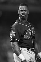 Julio Franco at the Cleveland Indians at Anaheim Stadium in Anaheim,California during the 1996 season. (Larry Goren/Four Seam Images)