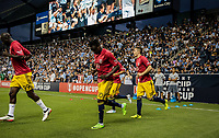 Kansas City, KS - Wednesday September 20, 2017: Bradley Wright-Phillips, Muhamed Keita, Alex Muyl during the 2017 U.S. Open Cup Final Championship game between Sporting Kansas City and the New York Red Bulls at Children's Mercy Park.