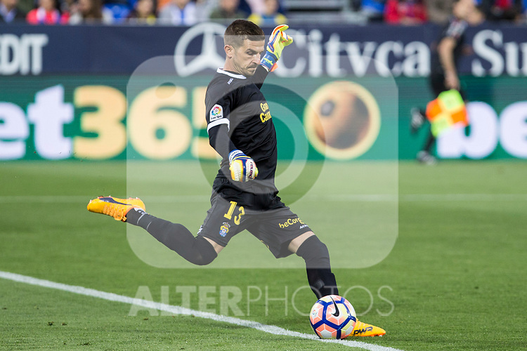 Javi Varas of UD Las Palmas during the match of La Liga between Deportivo Leganes and Union Deportiva Las Palmas  Butarque Stadium  in Madrid, Spain. April 25, 2017. (ALTERPHOTOS/Rodrigo Jimenez)