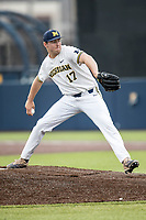 Michigan Wolverines pitcher Jeff Criswell (17) delivers a pitch to the plate against the Maryland Terrapins on April 13, 2018 in a Big Ten NCAA baseball game at Ray Fisher Stadium in Ann Arbor, Michigan. Michigan defeated Maryland 10-4. (Andrew Woolley/Four Seam Images)