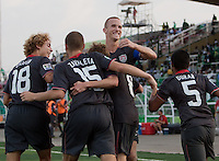 US Men's Under 17 team celebrates their goal. US Men's National Team Under 17 defeated Malawi 1-0 in the second game of the FIFA 2009 Under-17 World Cup at Sani Abacha Stadium in Kano, Nigeria on October 29, 2009.