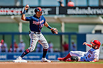 2 March 2019: Minnesota Twins infielder Ehire Adrianza in action during a Spring Training game against the Washington Nationals at the Ballpark of the Palm Beaches in West Palm Beach, Florida. The Twins fell to the Nationals 10-6 in Grapefruit League play. Mandatory Credit: Ed Wolfstein Photo *** RAW (NEF) Image File Available ***