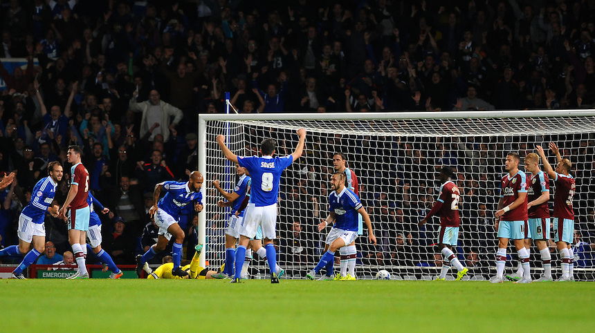 Ipswich Town's David McGoldrick (4th L) is off to celebrate after scoring the second goal of the evening<br /> <br /> Photographer Ashley Pickering/CameraSport<br /> <br /> Football - The Football League Sky Bet Championship - Ipswich Town v Burnley - Tuesday 18th August 2015 - Portman Road - Ipswich<br /> <br /> &copy; CameraSport - 43 Linden Ave. Countesthorpe. Leicester. England. LE8 5PG - Tel: +44 (0) 116 277 4147 - admin@camerasport.com - www.camerasport.com