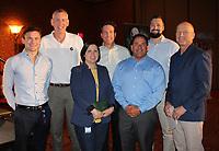 NWA Democrat-Gazette/CARIN SCHOPPMEYER Graham Gudis, (from left) Van Bakke, Veronica Riojas, Jim Meier, Mark Mohs, Justin Bules and Brian Arend represent PepsiCo at the Beat the Heat luncheon.