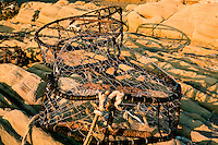 Crab traps washed ashore on Fourth Beach, at Kalaloch is one of several signed and short trails to wild and wolly beaches of Olympic National Park in the Kalaloch area.  Olympic National Park. Olympic Peninsula