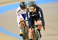 Picture by Alex Broadway/SWpix.com - 01/03/2018 - Cycling - 2018 UCI Track Cycling World Championships, Day 2 - Omnisport, Apeldoorn, Netherlands - Hyejin Lee of Korea and Natasha Hansen of New Zealand compete in the Women's Sprint 1/16 Finals.