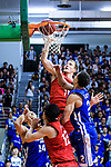 Dominic Robert Gilbert #11 of SCAA Men's Basketball Team (C) in action against Marcus Ryan Elliott #2 of Eastern Long Lions  (R) during the Final of Hong Kong Basketball League 2018 match between SCAA v Eastern Long Lions on August 10, 2018 in Hong Kong, Hong Kong. Photo by Marcio Rodrigo Machado/Power Sport Images