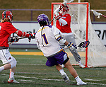 UAlbany Men's Lacrosse defeats Stony Brook on March 31 at Casey Stadium.  Tehoka Nanticoke (#1) scores.