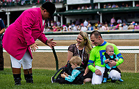 LOUISVILLE, KY - MAY 04: Calvin Borel with his wife and sons with Sam the Bugler during the Survivor's Parade on Kentucky Oaks Day at Churchill Downs on May 4, 2018 in Louisville, Kentucky. (Photo by Alex Evers/Eclipse Sportswire/Getty Images)
