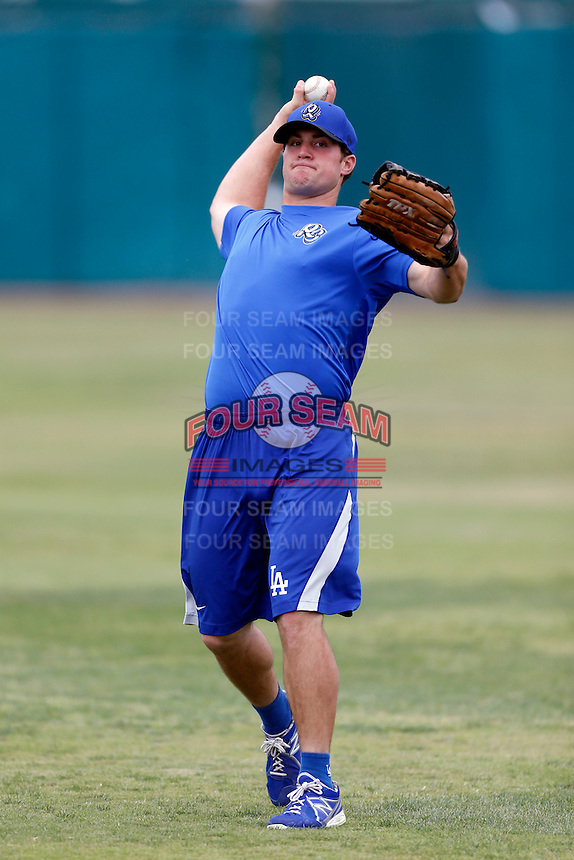 Scott Schebler #24 of the Rancho Cucamonga Quakes before a game against the Inland Empire 66'ers at San Manuel Stadium on April 24, 2013 in San Bernardino, California. Inland Empire defeated Rancho Cucamonga, 2-1. (Larry Goren/Four Seam Images)