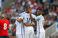 Marcus Rashford (Manchester United) of England congratulates goal scorer Ruben Loftus-Cheek (Chelsea) of England during the International EURO U21 QUALIFYING - GROUP 9 match between England U21 and Norway U21 at the Weston Homes Community Stadium, Colchester, England on 6 September 2016. Photo by Andy Rowland / PRiME Media Images.