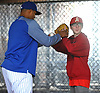 Luca Mazzilli, soon-to-be eighth grader and baseball player from Amityville, gets some pointers from New York Mets pitcher Jeurys Familia during a visit to Citi Field in Flushing, NY on Saturday, June 23, 2018.