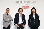 (L to R) Uniqlo Creative Director Naoki Takizawa, French model and fashion designer Ines de la Fressange and fashion model Louis Kurihara, pose for the cameras during a media event for Uniqlo x Ines de La Fressange AW17 collection, on September 5, 2017, Tokyo, Japan. Japanese casual clothing chain Uniqlo and French fashion icon Ines de la Fressange are collaborating with a Fall/Winter 2017 collection which is being sold in selected Uniqlo stores from September 1st. (Photo by Rodrigo Reyes Marin/AFLO)