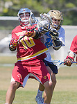 Corona Del Mar, CA 04/02/16 - Brendan Egan (Torrey Pines #10) and Jordan Greenhall (Corona Del Mar #18) in action during the non-conference game between the Nike/LM High School Boys' National Western Region #4 Torrey Pines (#4) and #5 Corona Del Mar.  Torrey Pines defeated Corona Del Mar 9-8 in overtime.
