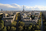 Eiffel Tower from the top of the Arc de Triomphe, Paris, France