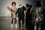 Designer Lenny Vuitton walks runway with model at the close of his Lenny Vuitton Spring 2020 collection fashion show at Cope NYC, on October 10, 2019, during Fashion Week Brooklyn Spring Summer 2020.