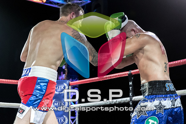 Darell Church vs Darren Snow Cruiserweight Contest During MTK London: Essex Fight Night. Photo by: Simon Downing.<br /> <br /> Saturday October 7th 2017 - Brentwood Centre, Brentwood, Essex, United Kingdom.