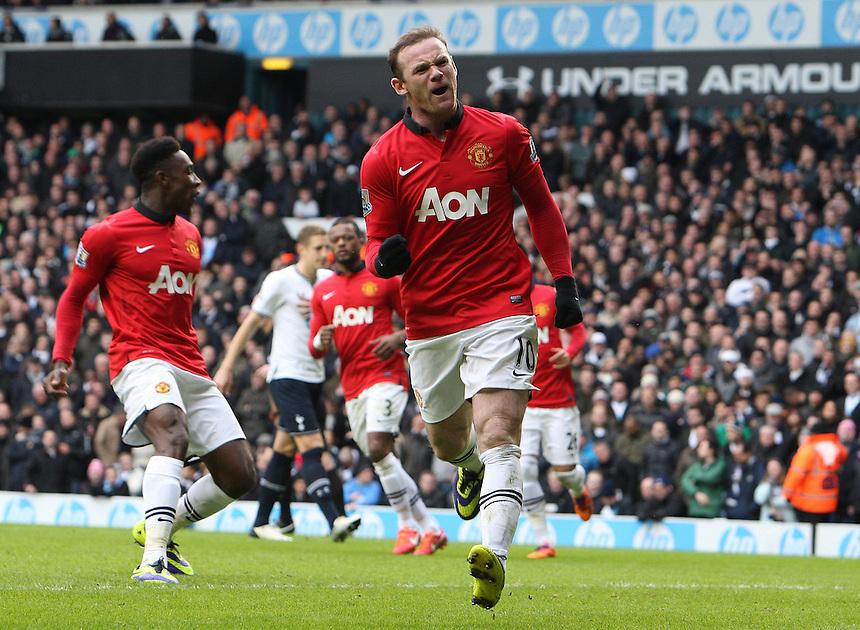 Manchester United's Wayne Rooney celebrates scoring his sides second goal  <br /> Photo by Kieran Galvin/CameraSport<br /> <br /> Football - Barclays Premiership - tottenham Hotspur v Manchester United - Sunday 1st December 2013 - White Hart Lane - London<br /> <br /> &copy; CameraSport - 43 Linden Ave. Countesthorpe. Leicester. England. LE8 5PG - Tel: +44 (0) 116 277 4147 - admin@camerasport.com - www.camerasport.com