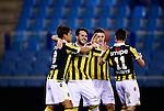 Nederland, Arnhem, 13 februari 2016<br /> Eredivisie<br /> Seizoen 2015-2016<br /> Vitesse-SC Heerenveen <br /> Valeri Qazaishvili van Vitesse viert zijn doelpunt, de 2-0, met ploeggenoten Kosuke Ota en Denys Oliynyk.