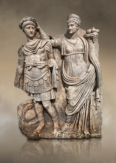 Roman Sebasteion relief  sculpture of Nero being crowned emperor by Agrippina, Aphrodisias Museum, Aphrodisias, Turkey.  Against an art background.<br /> <br /> Agrippina crowns her young son Nero with a laurel wreath. She carries a cornucopia, a symbol of Fortune and Plenty, and he wears the armour and cloak of a Roman commander, with a helmet on the ground near his feet. The scene refers to Nero's accession as emperor in AD 54, and belongs before AD 59 when Nero had Agrippina murdered.