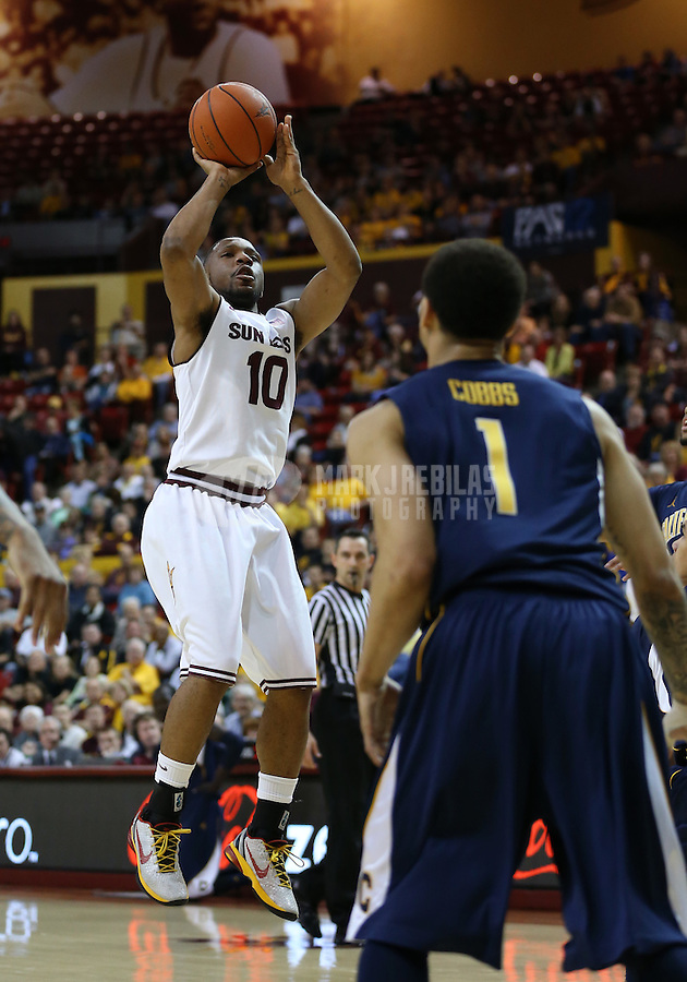 Feb. 7, 2013; Tempe, AZ, USA: Arizona State Sun Devils guard Evan Gordon shoots a three pointer in the first half against the California Golden Bears at the Wells Fargo Arena. Mandatory Credit: Mark J. Rebilas-