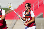 Los Angeles, CA 04/22/16 - Glade Nugent (USC #28) in action during the NCAA Stanford-USC Division 1 women lacrosse game at the Los Angeles Memorial Coliseum.  USC defeated Stanford 10-9/