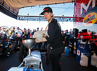 Feb 24, 2019; Chandler, AZ, USA; NHRA top fuel driver Leah Pritchett fuels her dragster during the Arizona Nationals at Wild Horse Pass Motorsports Park. Mandatory Credit: Mark J. Rebilas-USA TODAY Sports