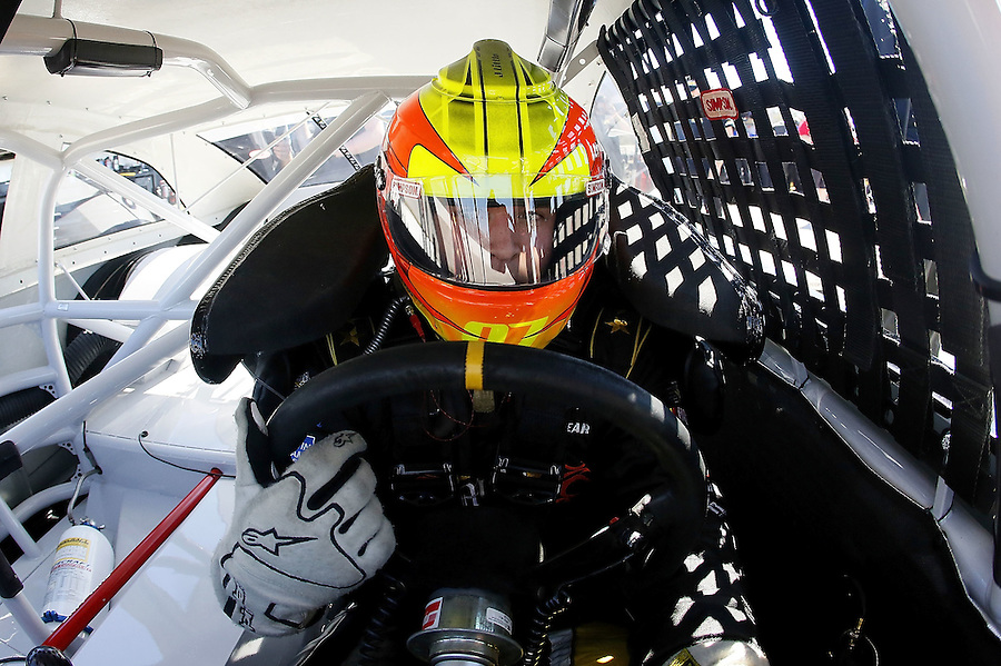 MOBILE, AL - MARCH 13: Jesse Little, driver of the #29 NASCAR Technical Institute Toyota, sits in his car during parctice for the NASCAR K&N Pro Series East Mobile 150 on March 13, 2016 in Mobile, Alabama.  (Photo by Jonathan Bachman/NASCAR via Getty Images)