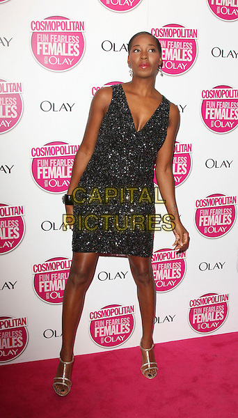 JAMELIA .Cosmopolitan Ultimate Women of the Year Awards 2008 held at the Banqueting House, Whitehall, London, England, November 5th 2008..Cosmo full length black sparkly dress gold strappy sandals .CAP/ROS.©Steve Ross/Capital Pictures