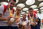 Spanish's paralympic Jorge Cardona, Maria Dorado, Teresa Perales and Eduardo Santas arrive to Madrid Adolfo Suarez airport after the Paralympics of Rio 2016 . September 21, 2016. (ALTERPHOTOS/Rodrigo Jimenez)