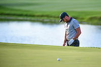 Jason Day (AUS) chips on to 18 during round 2 Four-Ball of the 2017 President's Cup, Liberty National Golf Club, Jersey City, New Jersey, USA. 9/29/2017.<br /> Picture: Golffile | Ken Murray<br /> <br /> All photo usage must carry mandatory copyright credit (&copy; Golffile | Ken Murray)