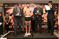 Andrew Selby on the scales during a Cyclone Promotions Weigh-In at the Grosvenor House Hotel on 6th October 2017