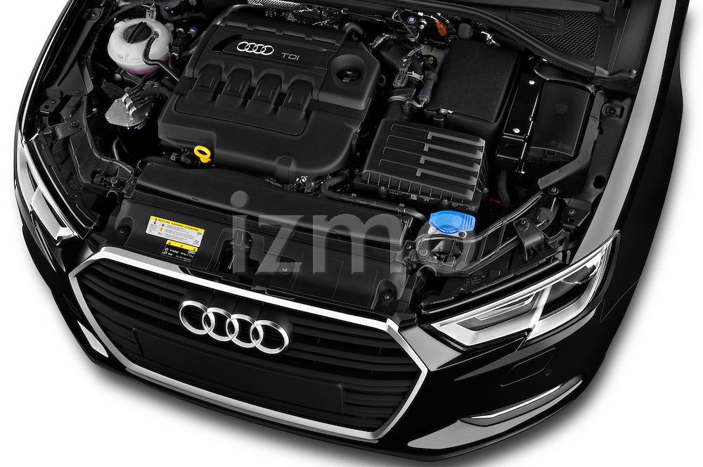 Car Stock 2017 Audi A3-Cabriolet Design 2 Door Convertible Engine  high angle detail view