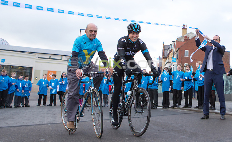 Picture by Alex Whitehead/SWpix.com - 21/01/2015 - Cycling - Tour de Yorkshire 2015 Route Launch - The Spa, Bridlington, England - Team Sky cyclist Ben Swift (R) and former cyclist Brian Robinson (L) pictured with local school children to launch the route of the 2015 Tour de Yorkshire.