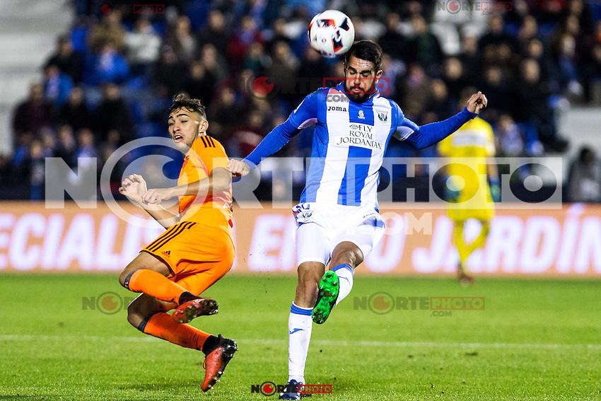 "Valencia's Munir El Haddadi and Club Deportivo Leganes's Gabriel Appelt Pires during the match of ""Copa del Rey"" between CD Leganes and Valencia CF at Butarque Stadium in Leganes, Spain. November 29, 2016. (ALTERPHOTOS/Rodrigo Jimenez) /NORTEPHOTO.COM"