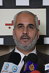 The spokesman of Hamas, Fawzy Barhoum attends a press conference against political arrests by the security forces in the West Bank, Gaza City on January 2, 2011. Photo by Mohammed Asad