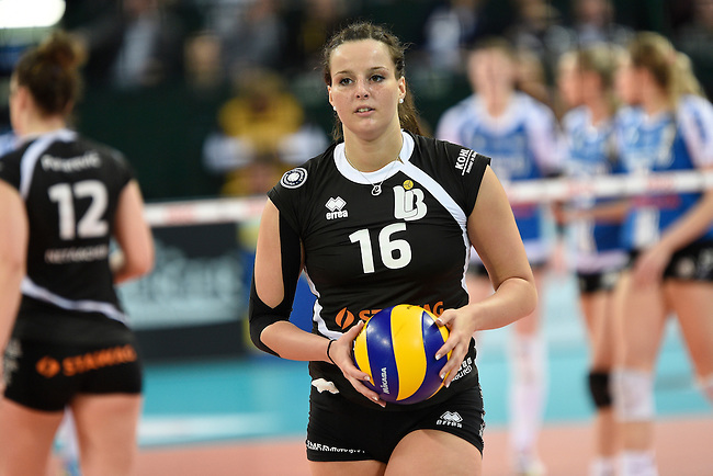 Halle/Westfalen, Germany, March 01: Srna Markovic #16 of Ladies in Black Aachen looks on during the Volleyball DVV-Pokalfinale (Damen) between Ladies in Black Aachen and Allianz MTV Stuttgart on March 1, 2015 at the Gerry Weber Stadion in Halle/Westfalen, Germany. Final score 2-3 (25-17, 25-20, 19-25, 19-25, 13-15). (Photo by Dirk Markgraf / www.265-images.com) *** Local caption ***