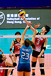 Nana Iwasaka of Japan (R) fights for the ball with Agnes Victoria Michel Tosi of Argentina (L) during the FIVB Volleyball Nations League Hong Kong match between Japan and Argentina on May 31, 2018 in Hong Kong, Hong Kong. Photo by Marcio Rodrigo Machado / Power Sport Images